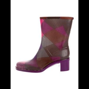 EMILIO PUCCI Caledonia Argyle Rubber Rain Boots 38